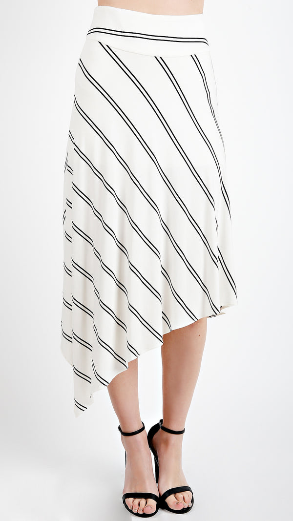 Asymmetrical Striped High Waisted Skirt - Msky