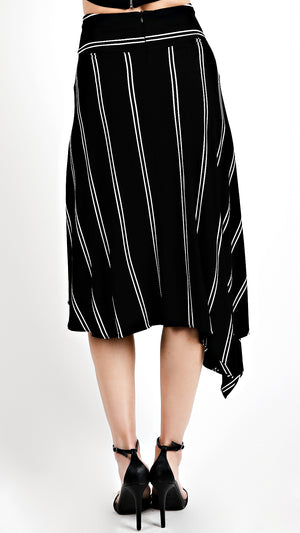 Asymmetrical Striped High Waisted Skirt