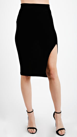 Side Slit Glossy Skirt