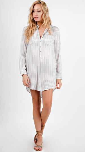Striped Long Sleeve Button Up Tunic Dress