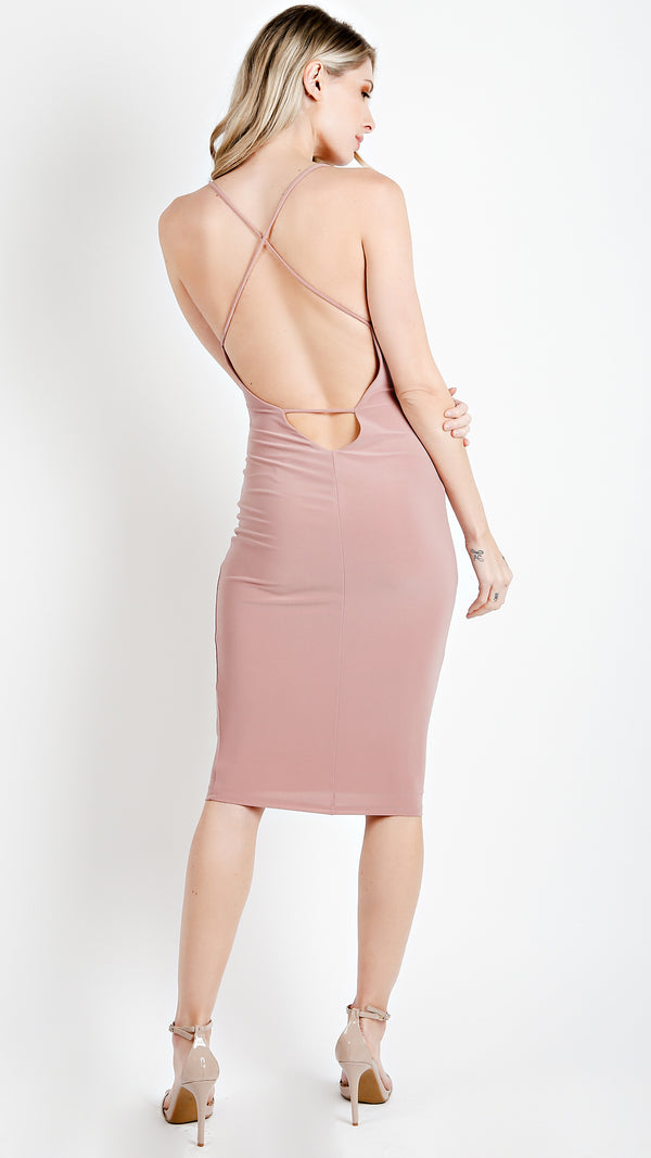 Crossback Sexy Thin Strap Bodycon Dress - Msky