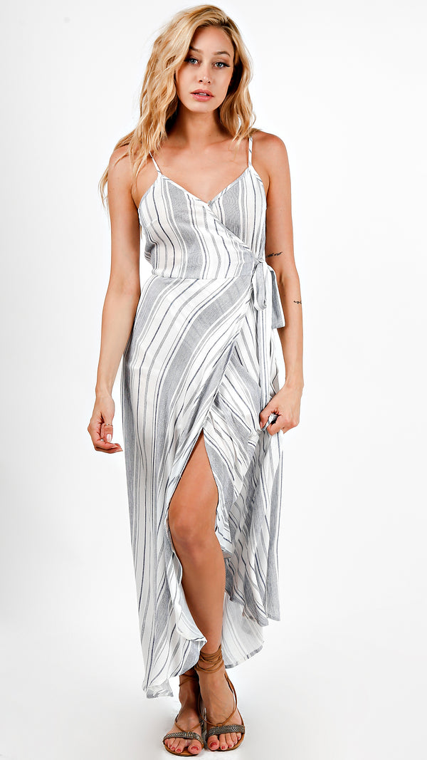 Striped Tie Waist Design Wrap Dress