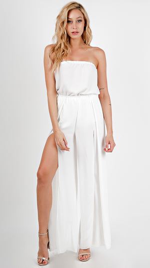 Solid Sexy Tube Chiffon Jumpsuit