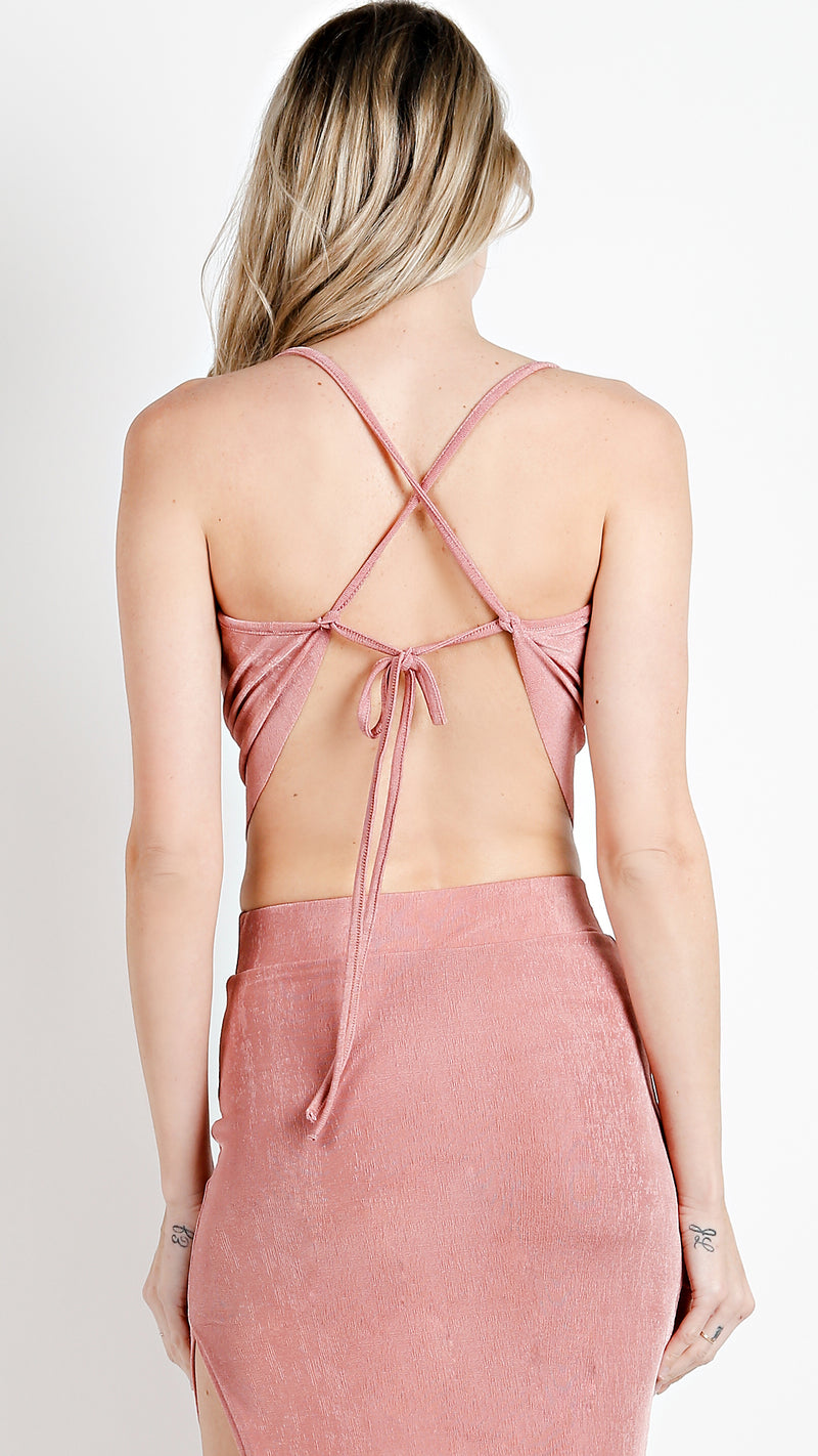 Draped Glossy  Crop Top With String Tie Back - Msky