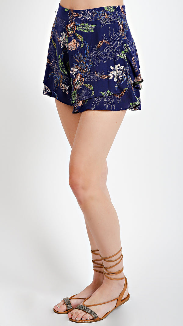 Tropical Floral Ruffle Shorts- Navy