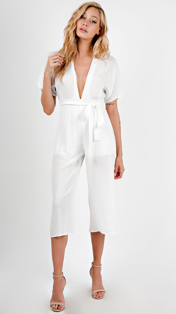 Breezy V- Neck Midi Length Jumpsuit - Msky