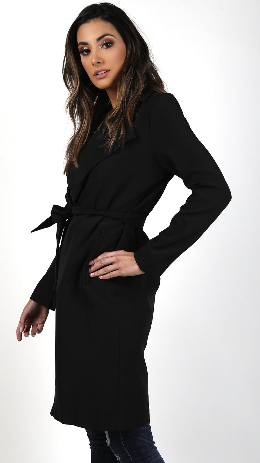 Long Lapeled Trench Coat