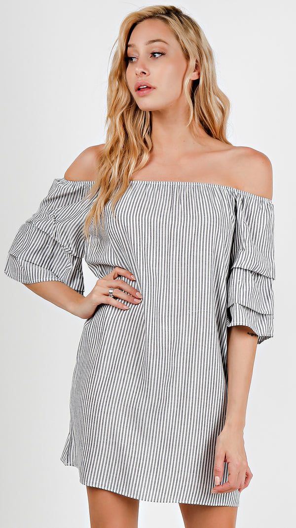 Off Shoulder Bubble Sleeve Dress