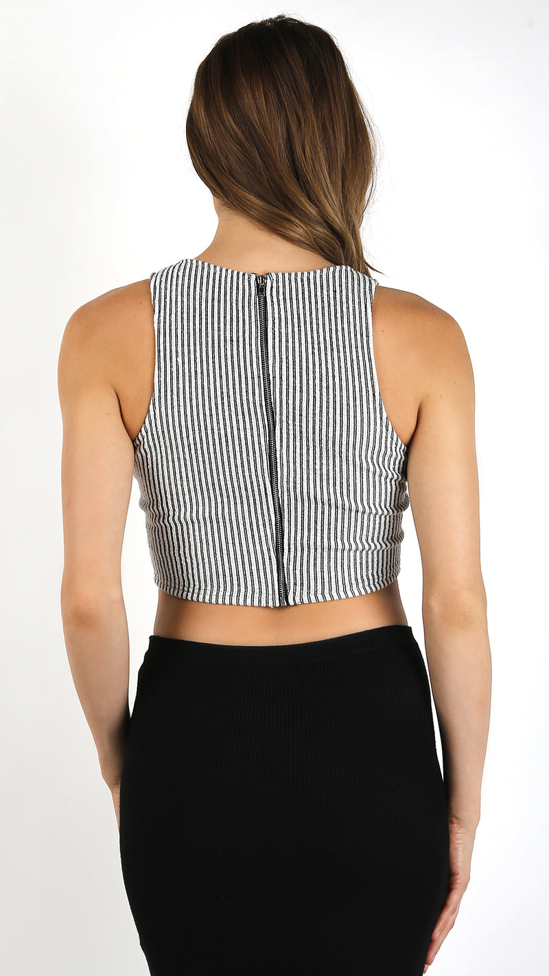 Thin Ribbed Textured V-Neck Crop Tank Top