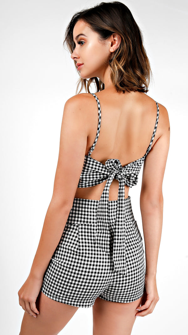 Gingham Front Twisted Bra Top And Shorts Set