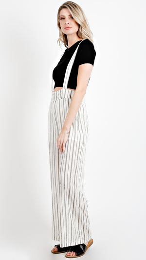 Long Striped Overall Pants