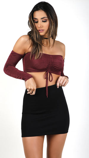 Pearly Off Shoulder Long Sleeve Crop Top