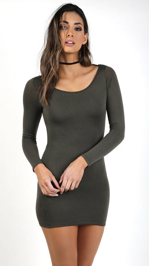 Long Sleeve Mini Dress With Strappy Back