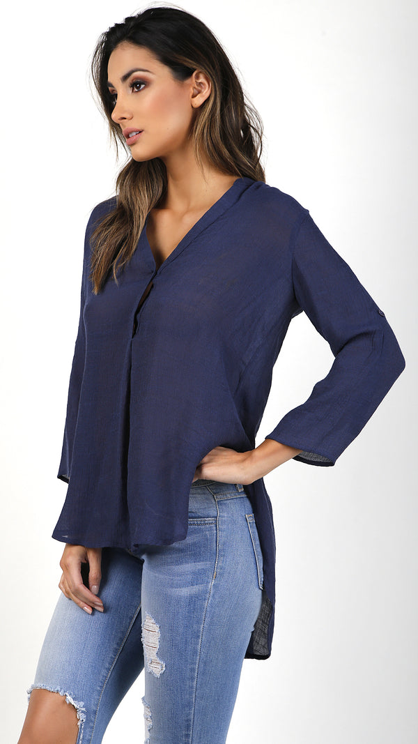 Roll Up Sleeve Woven Top