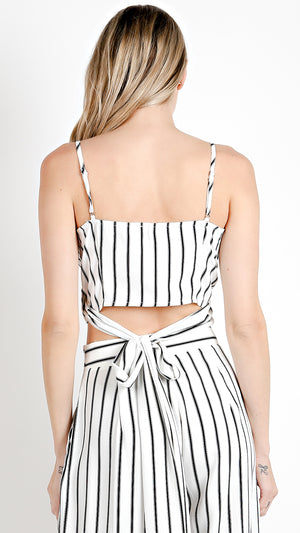 Striped Waist Tie Crop Top