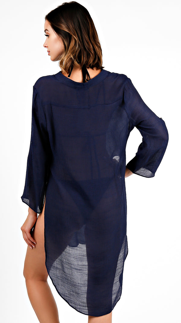 Side Deep Open Hem Tunic Top