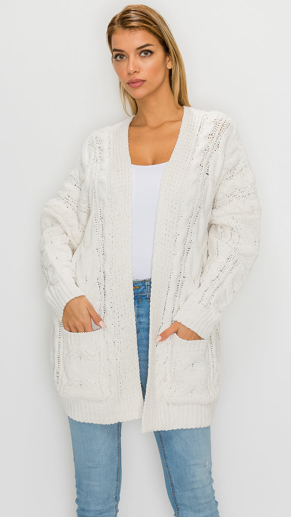 Sophie Cable Knit Thick Cardigan
