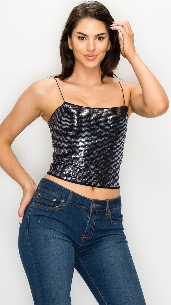 Maria Sequin Crop Top