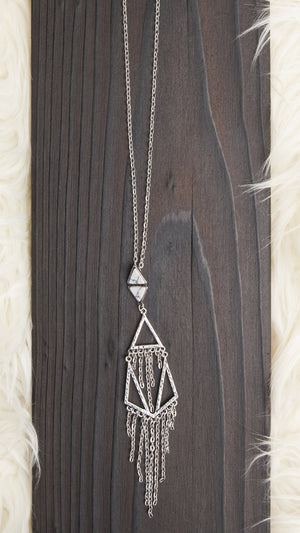 Chain & Stone Long Necklace