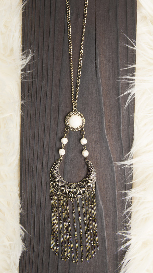 Tribal Stone & Fringe Necklace