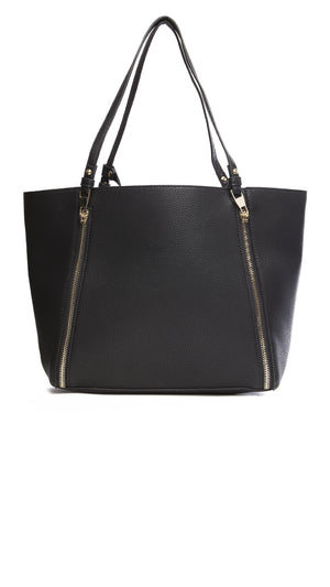 Textured Tote with Zippers