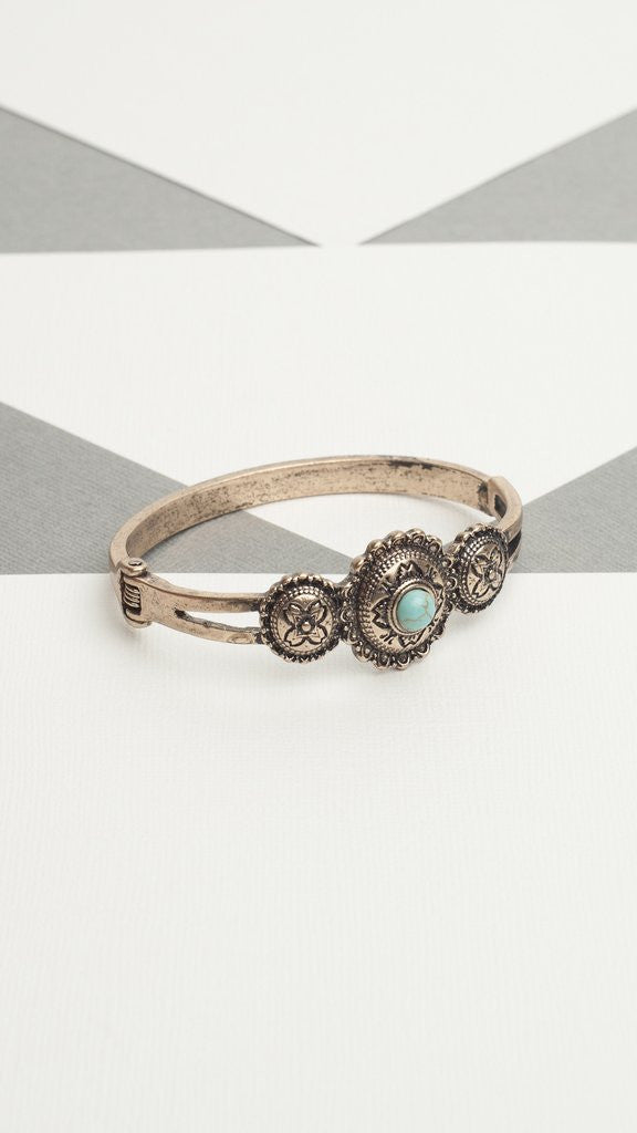 Medallion & Stone Hinged Cuff