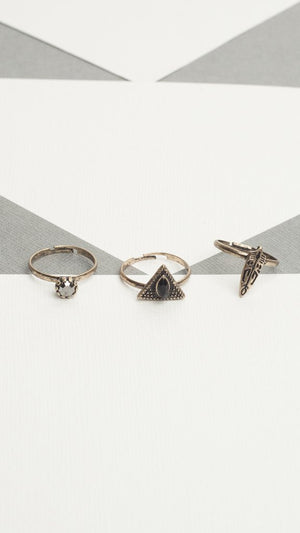 Tribal 3 Piece Ring Set
