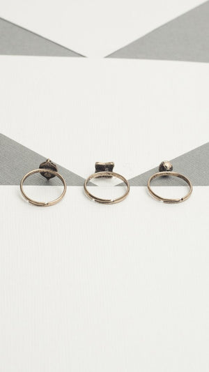 3 Piece Stone Ring Set - ANGL