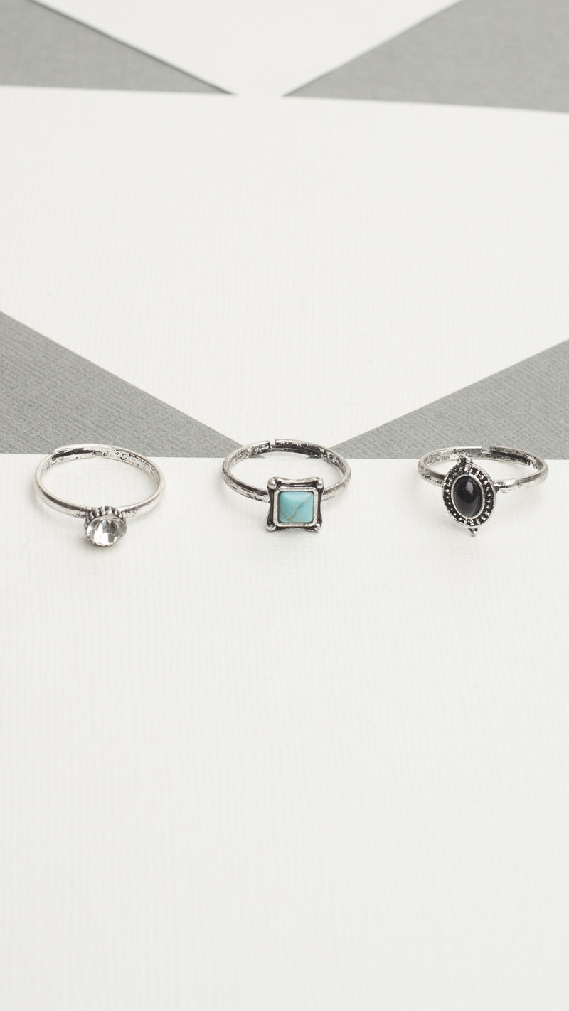 3 Piece Stone Ring Set - Msky