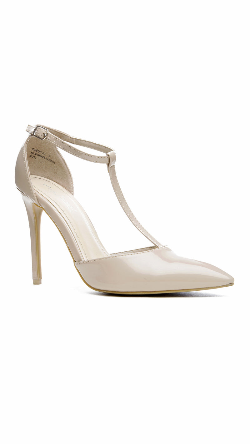 T-Strap Pointed Toe Pump - Nude