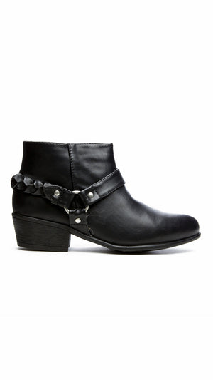 Textured Bootie with Harness - Black