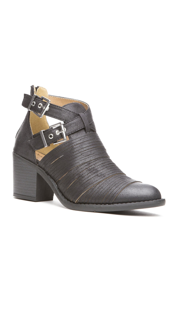 Textured Double Buckle Bootie - Black