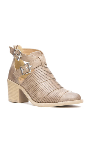 Textured Double Buckle Bootie - Taupe