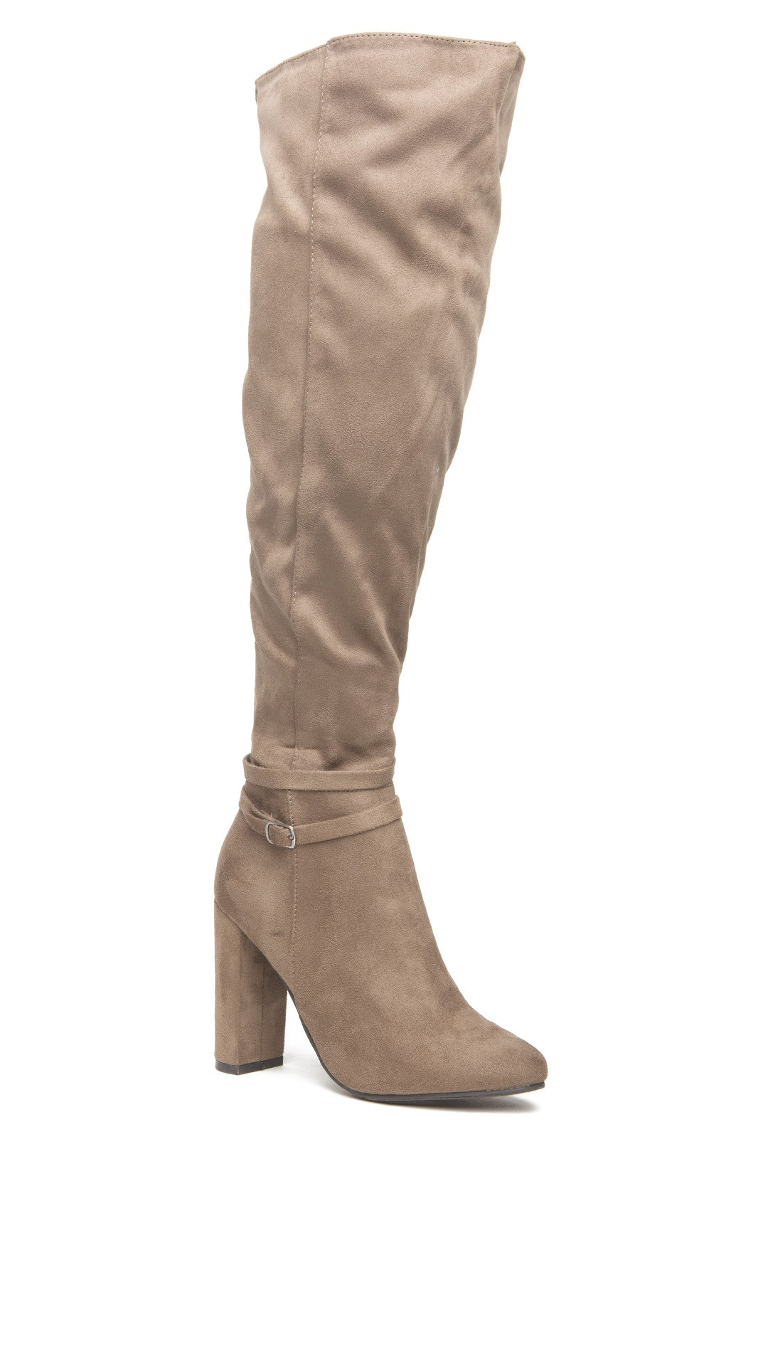 suede knee high boot with stacked heel angl