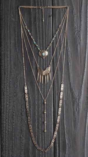 4-Tier Multi Pattern Necklace - Bronze - ANGL