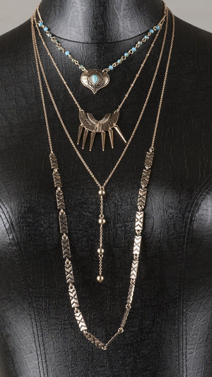 4-Tier Multi Pattern Necklace - Bronze