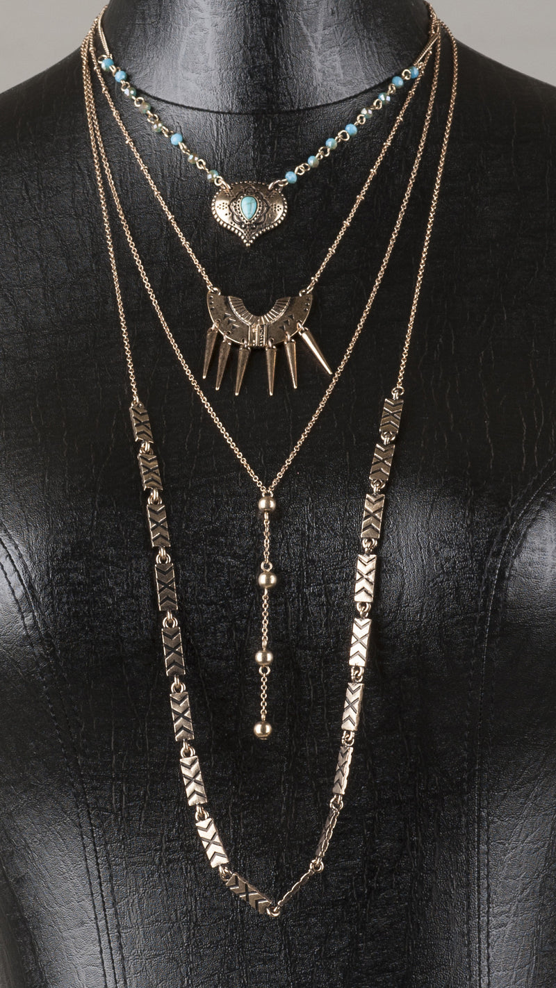4-Tier Multi Pattern Necklace - Bronze - Msky