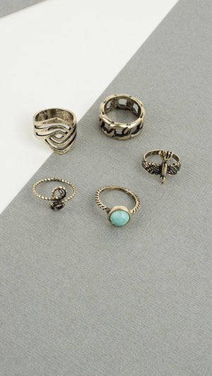 Antique Turquoise Ring Set - ANGL
