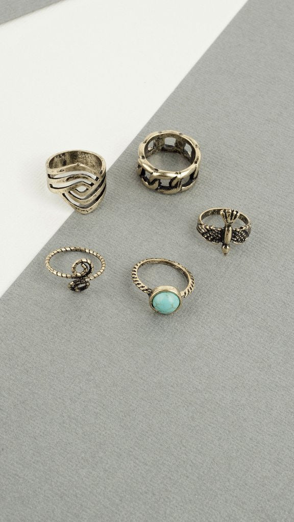 Antique Turquoise Ring Set - Msky