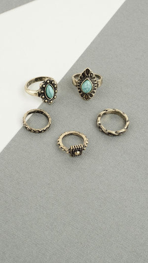 Multi Turquoise Ring Set
