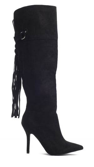 Knee High Tassel Boot - Black