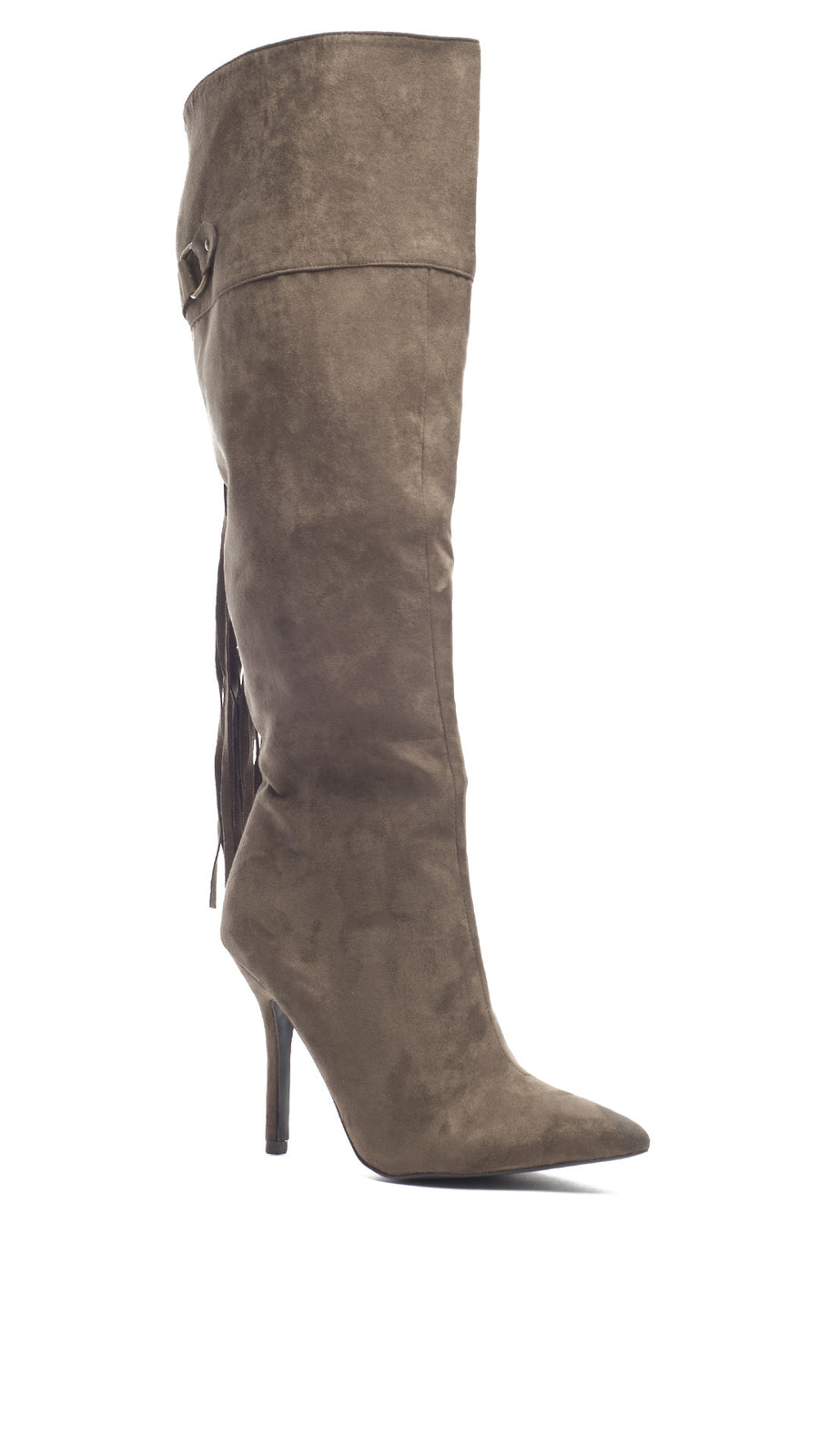 Knee High Tassel Boot - Khaki