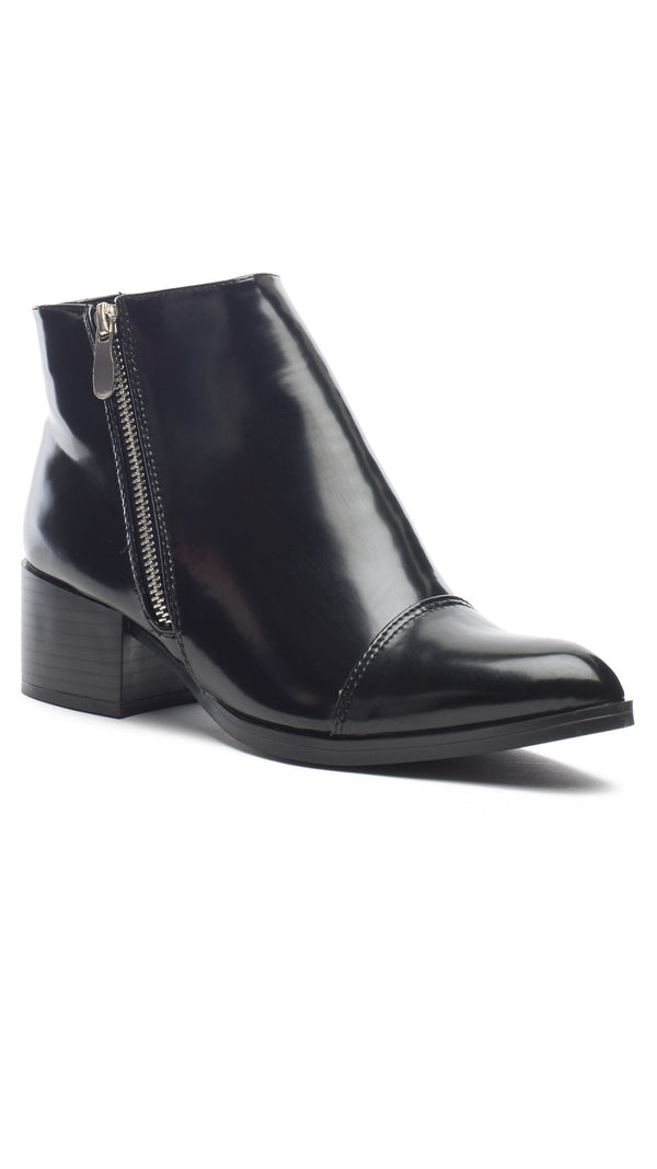 Glossy Zippered Bootie