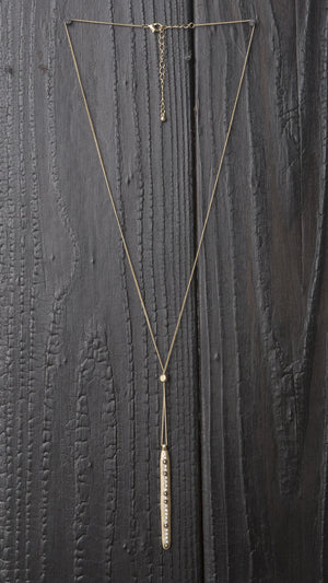 Delicate Rhinestone Bar Y Necklace