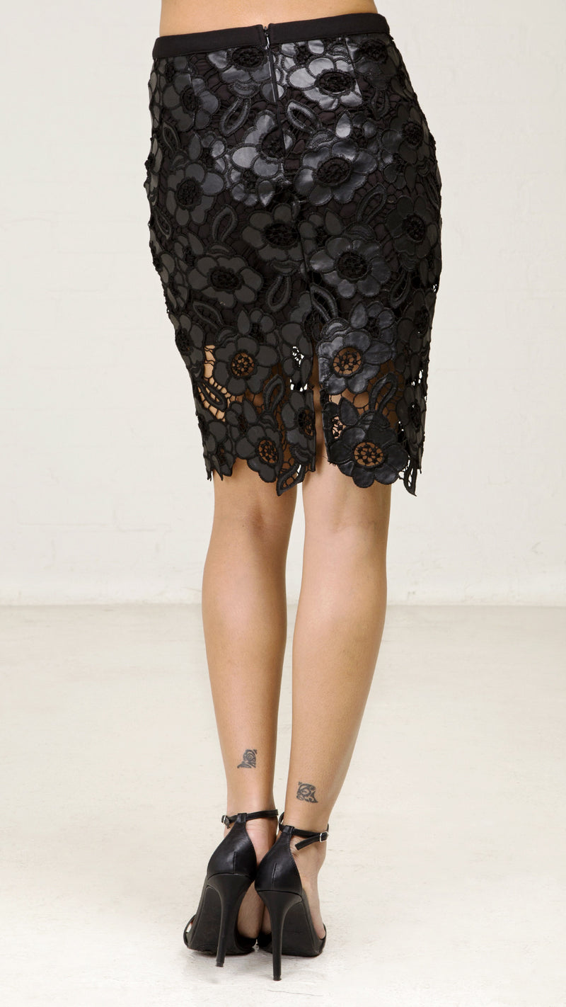 Pleather Flower Crochet Pencil Skirt