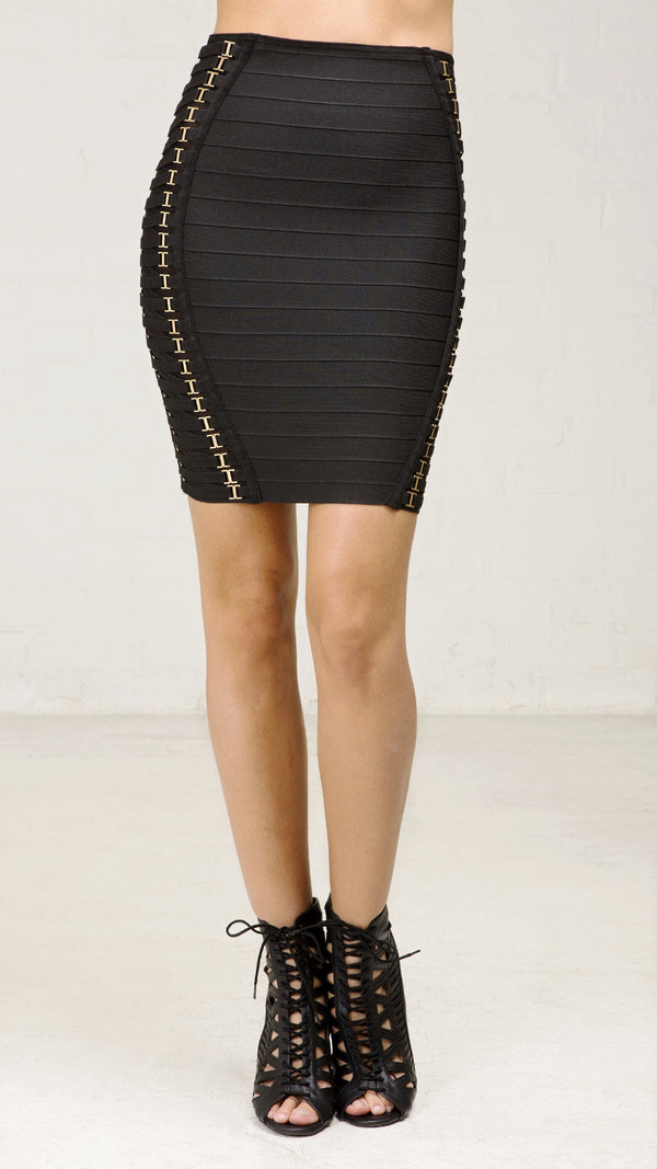 Metal Trim Detail Bandage Skirt