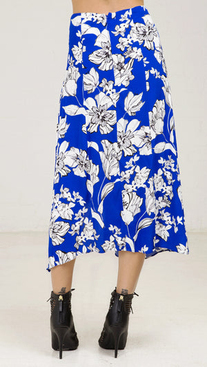 Uneven Hem Printed Midi Skirt