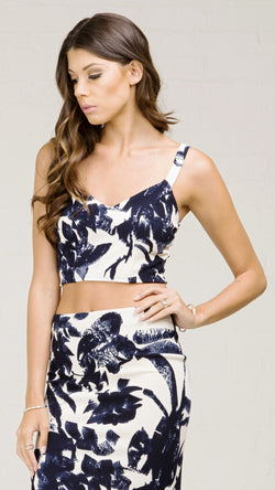 Brushed Silhouette Print Crop Tank Top - Msky