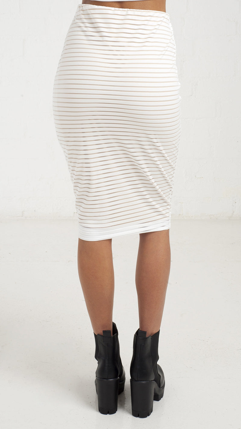 Mesh Stripe Pencil Skirt - White