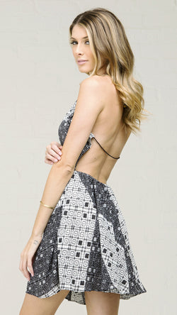 Multi Diamond Print Halter Dress